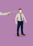 Getting Fired Cartoon Vector Illustration. Hand from the side pointing a gun at office worker. Vector illustration on being made redundant at work concept  on Stock Photography