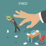 Getting fired isometric flat vector illustration. Boss` hand fillip on the employee to push him out of the office. Dismissed, loss job Stock Images