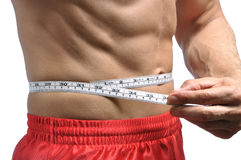Getting fit. Closeup of man holding measuring tape around thin muscular waist Royalty Free Stock Photo