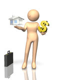The Getting funds is difficult. This is a computer generated image,on white background Royalty Free Stock Photo