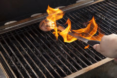 Cleaning the Grill Royalty Free Stock Image