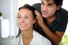 Getting hair cut. Portrait of women at the hairdresser Stock Image