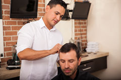 Getting a haircut from my barber Stock Photos