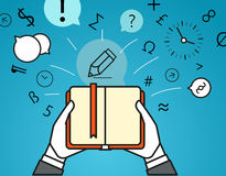 Getting information via book. Simple line design stock illustration
