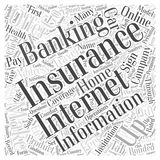 Getting Insurance through Internet Banking Institutions word cloud concept background Stock Images