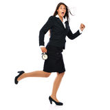 Getting late - business woman. Business woman running, is short on time - getting late. Isolated on white background Royalty Free Stock Photo