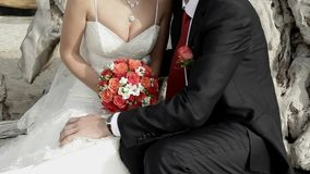Getting Married. In the hands of the bride bouquet of red roses. stock video