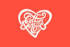 Getting married hand lettering with heart for wedding cards and invitation. Vector illustration. Royalty Free Stock Image