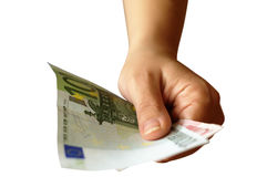 Getting money. Hand offering money (Euro banknotes Stock Photography