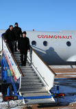 Getting Off The Plane. Increment 31 crew (L-R: Don Petit, Andre Kuipers, Oleg Kononenko) are getting off the plane upon arrival in Baikonur on the 8th of Royalty Free Stock Photography