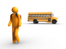 Getting off the school bus. Stick figure Getting off the school bus Stock Image