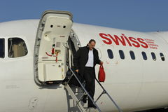 Getting off a Swiss Plane Stock Images