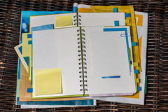 Getting organised. And making notes in notebook royalty free stock image