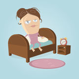 Getting out of bed clipart Royalty Free Stock Photo