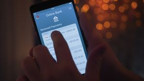 Getting payment on the banking app. Stock footage stock video footage