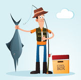Getting a pose. Young man getting a pose with his caught after fishing Royalty Free Stock Photos