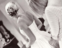 Getting Ready. Bride & Mother - Grain film visible Stock Images