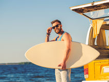 Getting ready for conquering the waves. Stock Image