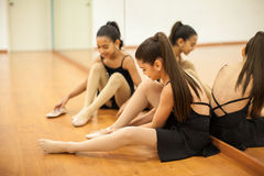 Getting ready for dance class Stock Image