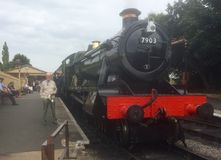 Getting ready for a head of steam. Steam train in the Cotswolds Royalty Free Stock Image