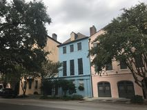 Getting ready for Hurricane Irma. Houses on East Bay St in downtown Charleston are boarded up to protect the glass from strong winds of Hurricane Irma Stock Image
