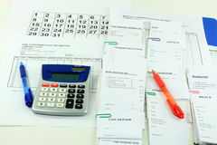 Getting ready for mountly expens report. Stock Images