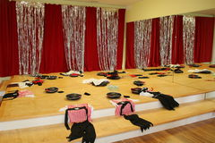 Getting ready for the party. The pirate costumes were set up in the stage before the Pirate Birthday Party began Royalty Free Stock Photo