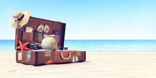 Getting ready for summer holidays - Leather suitcase with travel accessories. 3D Rendering stock photo