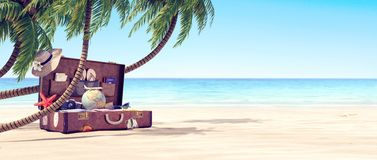 Getting ready for summer holidays - Leather suitcase under a palm tree. 3D Rendering royalty free stock photo