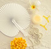 Getting ready for summer white and yellow stock photography