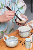 Getting ready for tea ceremony Royalty Free Stock Images