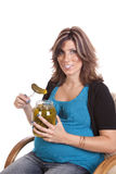 Getting ready to eat pickle Royalty Free Stock Photos