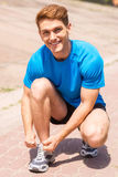 Getting ready to jogging. Stock Photo