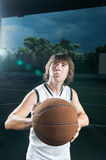 Getting ready to shoot basketball Royalty Free Stock Images