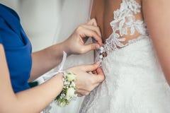 Getting ready wedding bride. Groom Stock Image