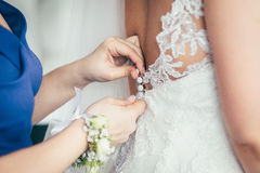 Getting ready wedding bride. Groom Royalty Free Stock Photos