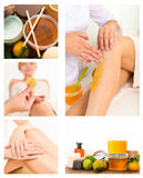 Getting rid of body hair by shugaring. Collage. Getting rid of body hair by shugaring Stock Photography