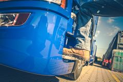Getting Into Semi Truck stock photos