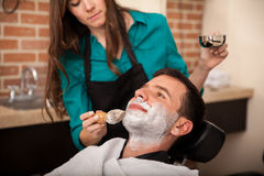 Getting shaved by a girl Stock Photography