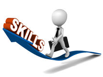 Getting skilled. Rise in skill set, man riding the growth curve of skills, white background Royalty Free Stock Photo