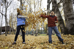 Getting smeared in leaf fight. Stock Image