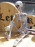 Getting Some Sun. Toy skeleton humorously set out in a sunning position Stock Images