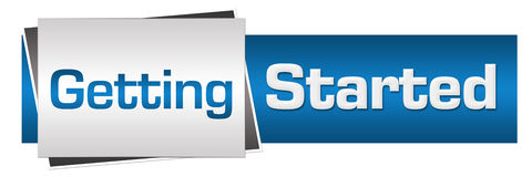 Getting Started Blue Grey Horizontal Stock Images