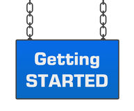 Getting Started Blue Signboard. Getting started text written over blue hanging signboard royalty free illustration