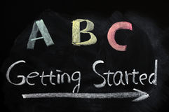 Getting started concept. Getting started with ABC concept on a blackboard Stock Images