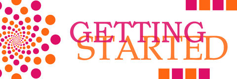 Getting Started Pink Orange Dots Horizontal Stock Photography