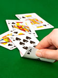 Getting a straight flush in poker game Royalty Free Stock Photography