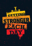 Getting Stronger Each Day. Workout and Fitness Gym Motivation Quote. Creative Sport Vector Typography Grunge Poster. Concept royalty free illustration