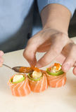 Getting Sushi Ready Stock Photos