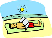 Getting a tan in the beach vector illustration. Vector illustration of a man getting a tan in the beach Royalty Free Stock Photography